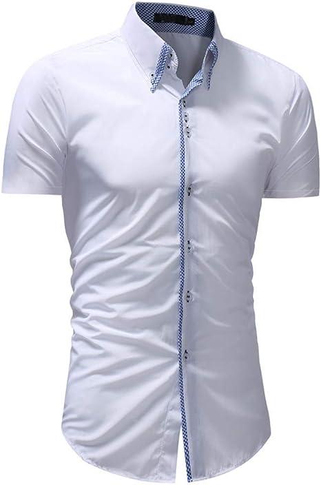 CHENS Camisa/Casual/Unisex/XL Camisa de Vestir para Hombre Camisa de Verano para Hombre Talla Grande Sólido Casual con Botones Camisa de Manga Corta Top Blusa Ropa Blanca Koszula: Amazon.es: Deportes y aire libre