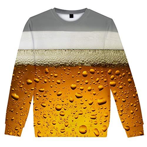 iLXHD Men'sl Long Sleeve Casua Beer Festival 3D Printing Crew Neck Top Blouse