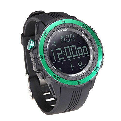 Digital Multifunction Sports Wrist Watch - Smart Fit Classic Men Women Sport Running Training Fitness Gear Tracker w/ Altimeter, Barometer, Compass, Timer, Weather Forecast - Pyle PSWWM82GN (Green)