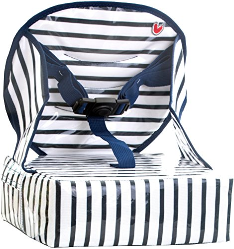 Baby-To-Love Easy Up, Portable Travel Booster Seat Dining Toddler, Boy & Girl (Blue Stripes) (Blue Stripe High Chairs)