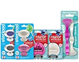 Steripod Kit For Women: 4 Clip-On Toothbrush Protectors (Rose Gold, Pearl, Clear Silver, Clear Purple), 2 Razor Covers (Pink & Pearl), 2 Tongue Cleaners (Pink & Pearl)