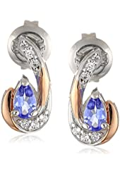 2-Tone Sterling Silver and 18k Rose Gold over Silver Tanzanite and CZ Post Earrings