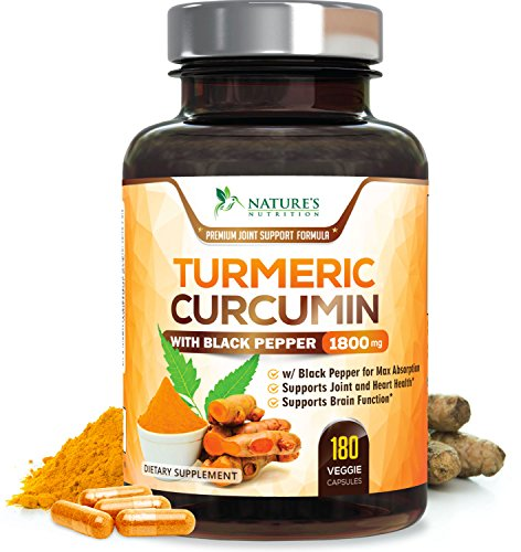 Turmeric Curcumin Max Potency 95% Curcuminoids 1800mg with Black Pepper Extract for Best Absorption, Anti-Inflammatory for Joint Relief, Turmeric Powder Supplement by Nature's Nutrition - 180 Capsules