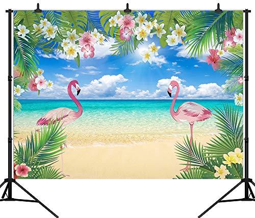 DePhoto 7X5FT(210X150CM) Flamingo Beach Party Seamless Vinyl Photography Backdrop Photo Background Studio Prop PGT363A -