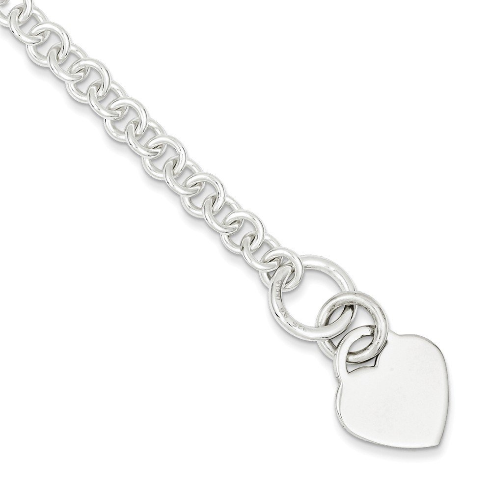.925 Sterling Silver Polished Heart Bracelet 7.50 and 8.50 inches