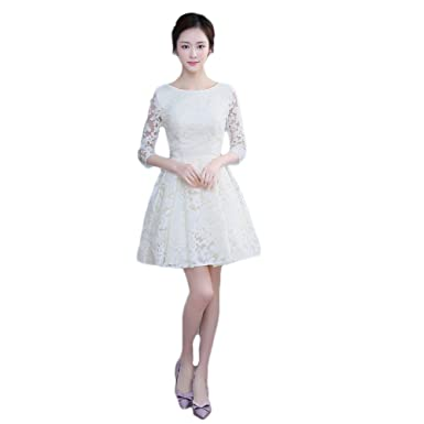 Aokaixin Bateau Neckline Long Sleeves Short Lace Prom Dresses Evening Dress Champagne US2