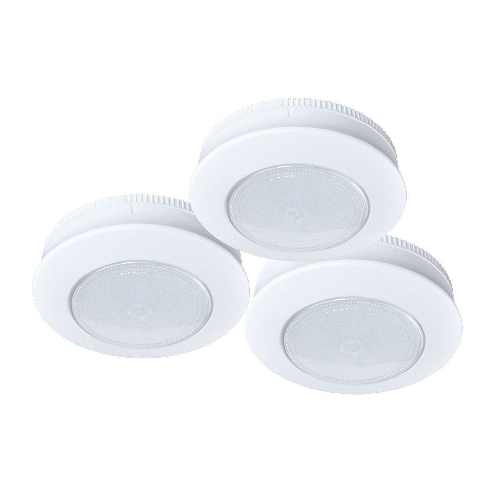 Ecolight Battery-Operated 3-Inch LED Tap Puck Light (3-Pack)