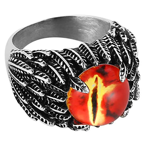(HZMAN Mne's Vintage Feather Stainless Steel Rings Red The Devil Eye Gothic Biker Jewelry)