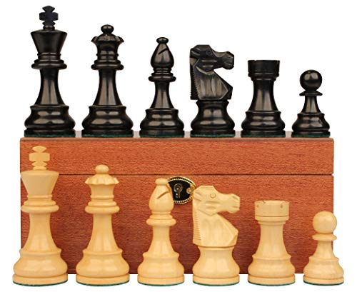 - French Lardy Staunton Chess Set Ebonized & Boxwood Pieces with Mahogany Chess Box - 3.75
