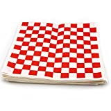 Deli Sandwich Wrapping Food Paper - 300 Sheets, 12 Inch by 12 Inch Classic Red and White Grease Resistant Food Basket Liners for French Fries and Burgers