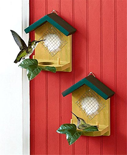 SET OF 2 WOODEN HUMMINGBIRD NESTER HOUSES READY TO HANG B...
