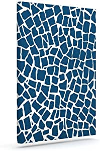 Kess InHouse Project M British Mosaic Navy Outdoor Canvas Wall Art, 16 by 20-Inch