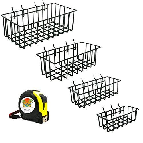 The Bargain Oasis Pegboard Basket, 4 Piece Set, Includes Measuring Tape - Hooks Simply for Ultimate Organization of Accessories - Durable Metal Vinyl Coated Organizer Bins Black