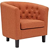 Accent Barrel Chair With Tufted Back and Removable Cushion, Contemporary Upholstered Armchair, Club Chair, Reception Seat (Orange)