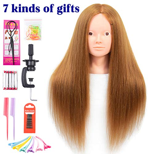 Mannequin Head with Real Hair 60% Straight Professional Bride Hairdressing Training Head with Stand Cosmetology Doll Head for Styling Braid Curl Cut Practice (26 inch without make-up, 27#)