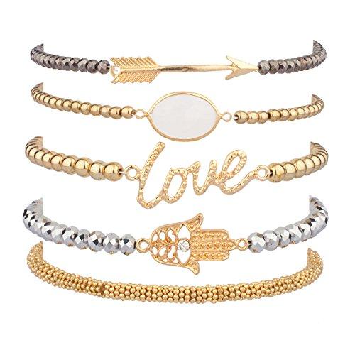 [Lux Accessories LOVE HAMSA ARROW Beaded Arm Candy Friendship Rhinestone Stretch Bracelet Set] (Arm Candy Costume)