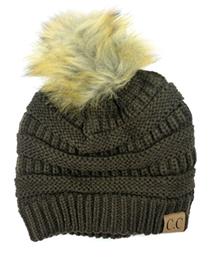 Soft Stretch Cable Knit Ribbed Faux Fur Pom Pom Beanie Hat (Brown)