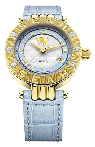 (Seah Empyrean Zodiac Sign Taurus, 42mm, Limited Edition 18K Yellow Gold, Swiss Made Automatic, Luxury Diamond Watch with Blue Hirsch Alligator Leather Band.)
