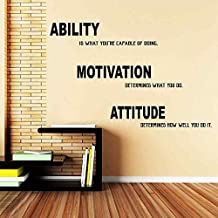 """BATTOO Motivational Quote Gym Wall Decal - Ability, Motivation, Attitude - Gym Quote Vinyl Lettering(orange, 22""""h x34""""w)"""