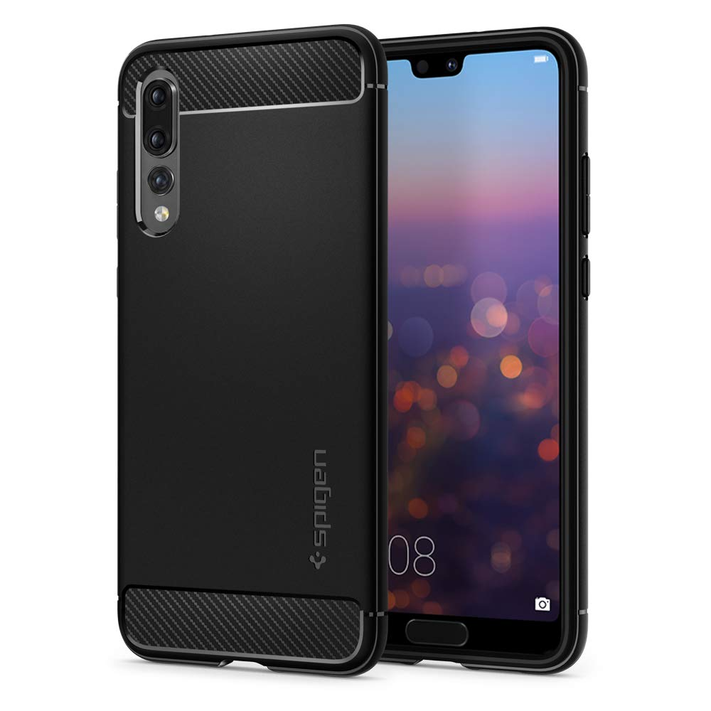 Spigen [Rugged Armor] [Black] Case Compatible for Huawei P20 Pro, Original  Carbon Fiber Design Shock Absorption Air Cushion Technology Drop Protection