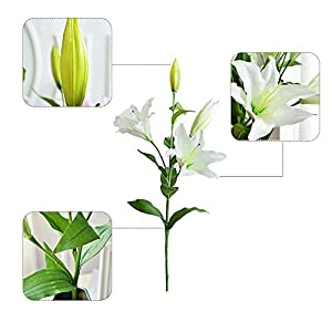 Zebery 6 Pcs Artificial Tiger Lily Latex Real Touch Flowers Fake Flower for Home and Wedding Decoration Artificial Flowers Home Hotel Wedding Party Garden Decorative Arrangement Flowers 2