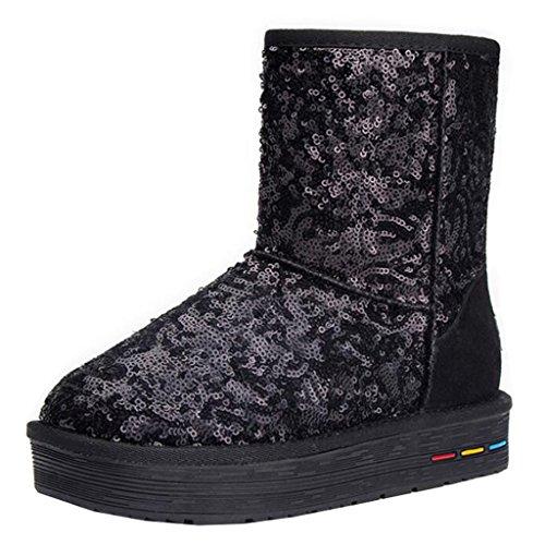 Binying Women's Round-Toe Flatform Slip-on Sequins Fur Snow Boots Black fBzkA