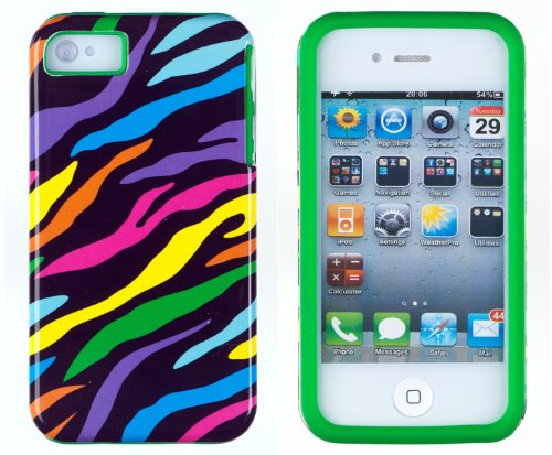 DandyCase 2in1 Hybrid High Impact Hard Colorful Rainbow Zebra Striped Pattern + Green Silicone Case Cover For Apple iPhone 4S & iPhone 4 + DandyCase Screen Cleaner