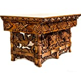 Tribe Azure Fair Trade Hand Carved Altar Table Small Meditation Puja Sheesham Wood Unique Dragon