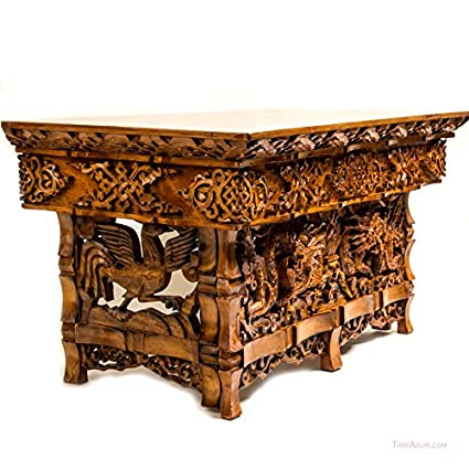 Superieur Tribe Azure Fair Trade Hand Carved Altar Table Small Meditation Puja  Sheesham Wood Unique Dragon