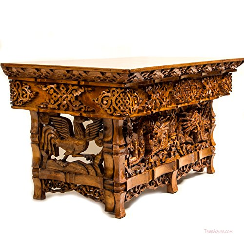 Tribe Azure Fair Trade Hand Carved Altar Table Small Meditation Puja Sheesham Wood Unique Dragon (Small)