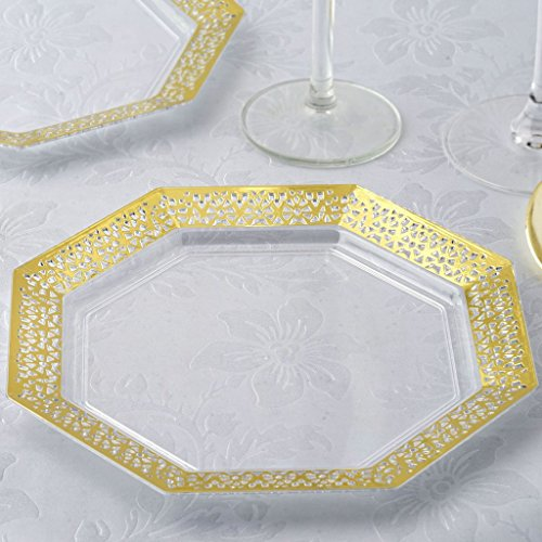 BalsaCircle 24 pcs 8-Inch Clear with Gold Lace Rim Plastic Octagonal Plates - Disposable Wedding Party Catering Tableware  sc 1 st  Plate Dish. & Wholesale Plastic Plates Wedding. \
