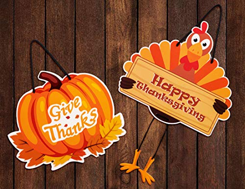 Moon Boat Thanksgiving Hanging Sign Decorations - Turkey Pumpkin Fall Wall Door Hanger Decor 2 Ct