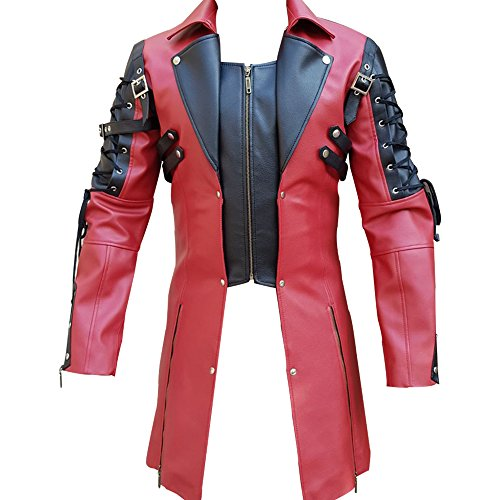 Olly And Ally Mens PU Leather Goth Matrix Trench Coat Steampunk Gothic - T18 (Large, Red & Black)