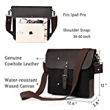 Leather Messenger Bag,Vaschy Vertical Vintage Waxed