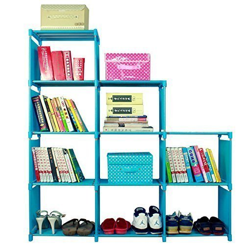 2018 Non-Woven 9-Cubes Korean Home Furniture Closet Storage, Adjustable DIY Design for Kids Office Bookshelf Closet Shelf [US STOCK] (Blue) by CINUE (Image #4)