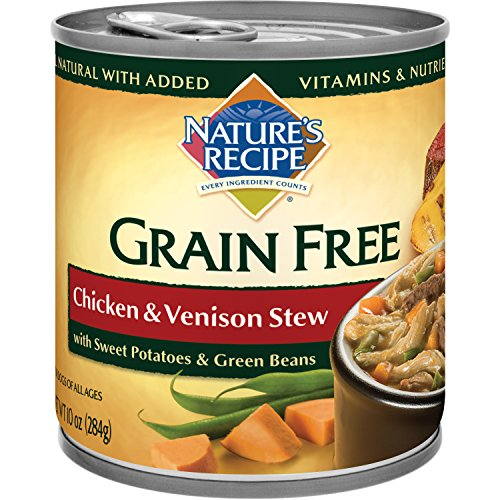Nature's Recipe Grain Free Wet Dog Food, Chicken & Venison Stew, 10-Ounce Cans (Pack of 24)
