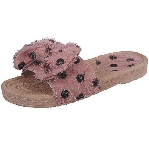 Damen Fußbett Pantolette mit Schleife Rosa
