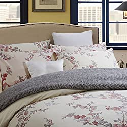Brandream Garden Chinoiserie Floral Duvet Quilt Cover Asian Porcelain Style Tree Blossom and Birds Blue and White Watercolor Pattern 300tc Cotton Percale 3pc Bedding Set (Queen,Cream Red)