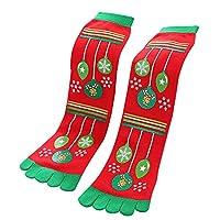 Goddessvan Christmas Toe Socks,Unisex Casual Knee-High Anti-slip Slipper Cotton Socks