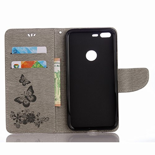 Yiizy Google Pixel XL Custodia Cover, Farfalla Fiore Design Sottile Flip Portafoglio PU Pelle Cuoio Copertura Shell Case Slot Schede Cavalletto Stile Libro Bumper Protettivo Borsa (Grigio)