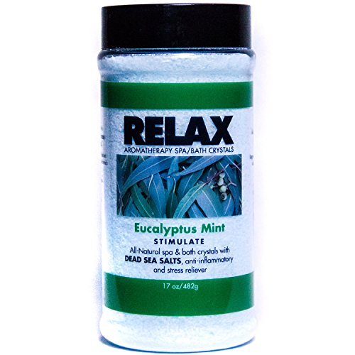 (Eucalyptus Mint Aromatherapy Bath Salts -17 Oz– Natural Minerals for Soaking Aches, Pains & Stress Relief for Spa, Bath)