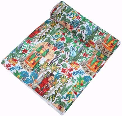 Kantha Quilt Indian Handmade Natural Orgnic Colours Bed Cover Throw Frida Kahlo