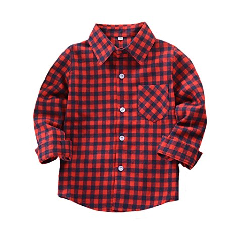 Kid Girl Boy Long Sleeve Button Down Plaid Flannel Shirt Gingham Red 9 ()
