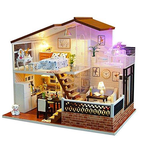 OSHIDE オシデ ドールハウス 日光 手作りキットセット DIY LEDライト付属 北欧風 おもちゃ 組み立てキット 照明 点灯 ミニチュア インテリア クリスマス プレゼント 防塵カバーなし