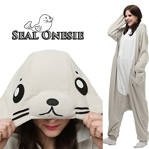 Unisex Adult Animal Onesie Kigurumi Pajamas Cosplay Costumes or Loungwear (XL, White (Seal Costume For Adults)