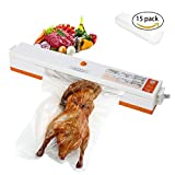 Vacuum Sealer, Automatic Vacuum Sealing System, Vacuum Sealing Machine for Food Preservation and Storage including Starter Kit and 15 Sealer Bags for Free,Compact Vacuum Sealer for Food Saver
