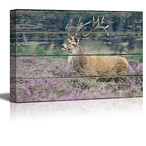 (wall26 - Canvas Wall Art - Elk Deer in The Woods on Vintage Wood Textured Background - Rustic Country Style Modern Giclee Print Gallery Wrap Home Decor Ready to Hang - 24