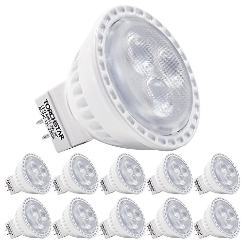 (TORCHSTAR 35W Equivalent 3W MR11 GU4 LED Light Bulb, AC/DC 12V LED Spotlight, 2700K Soft White, 200Lm, 30° Beam Angle, Track Lighting, Recessed Light, Non-Dimmable, 2 Years Warranty, Pack of 10)