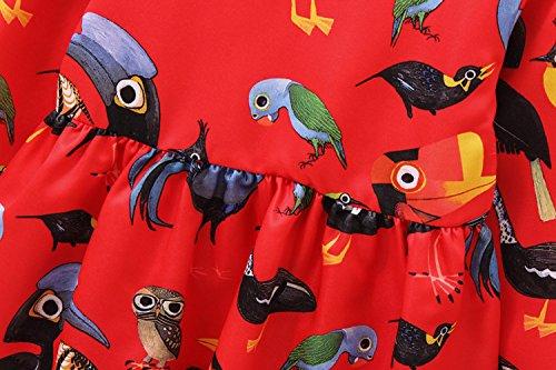 1 3 Acvip Enfant Pour Col Manches Rond Oiseau Style Fille Imprimé Motif Robe Ans 12 Longues Elégant BaBq7