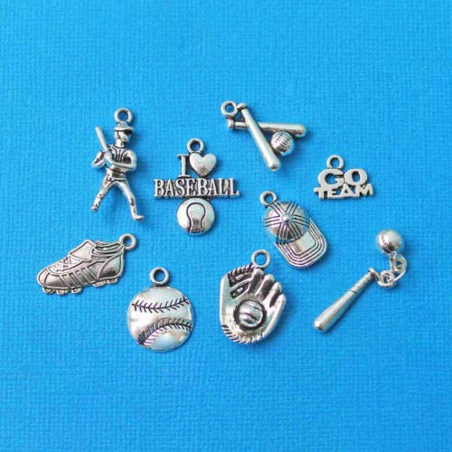Jewelry Making Baseball Charm Collection Antique Silver Tone 9 Different Charms - COL054 Perfect for Pendants, Earrings, Zipper pulls, Bookmarks and Key Chains